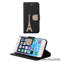 Luxury Leather Case for iPhone 6 iPhone6 apple 4.7 inch Eiffel Tower Card Holder Wallet Stand Design Flip Cover Mobile Phone Bag
