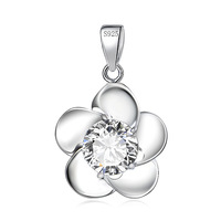 GND0829 Fashion Accessories 2014 New 925 Sterling Silver Flower Pendant for Women Stylish Silver Jewelry CZ Charms Free Shipping