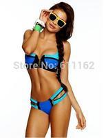 Beach Bunny Swimwear Neon Pink/Blue Color Block Zipper Push-Up Padded mesh swimsuit Skimpy Bikini Bottom Brand Swimsuit Size S-L
