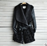 2014 Winter Hot Salling Full Sleeve Turn Down Collar Solid Black Fur Leather Patchwork Adjustable Waist Outwear Coat S M L