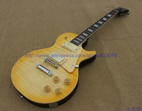 Customised electric guitar thin transparent yellow color on body top,grover tuners.cream cover pickup,,chrome parts,high grade!