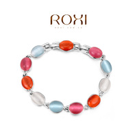 New Sell Wholesale ROXI Fashion Accessorie CZ Diamond  Gold Plated with SWA Element Colorful Opal Bracelet Love Gift for Women