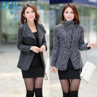 2015 autumn winter Women fashion small fragrant wind coat woolen slim solid zipper coat natural color long sleeves