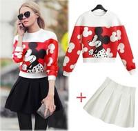 Europe United States 2014 new fashion fall winter women cute cartoon Mickey printed sweatshirt + pleated skirt 2 piece set