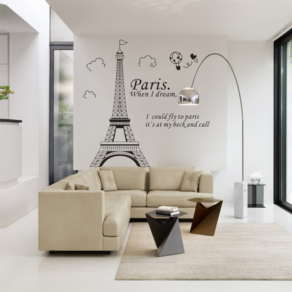 Romantic Paris Eiffel Tower Beautiful View of France DIY Wall Wallpaper Stickers Art Decor Mural Room Decal(China (Mainland))