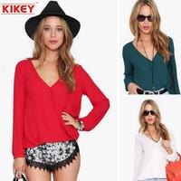 T-shirt Feminina 2014 New Fall Casual Style V-neck Womens Long Sleeve Tops European And American Big Yards Shirt Free Shipping