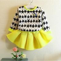 Retail 2014 Winter hot sale girls fashion 2 pieces suit kids star hoodies+skirt 167