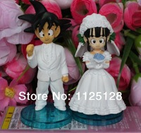 Free shipping Dragon Ball Z Goku ChiChi Wedding dolls wcf dwc7 PVC Action Figure Toy Box 2 pcs/set