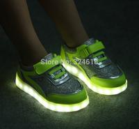 LED flashing light Sneakers Unisex Children Lighted Sport Shoes velcros luminous shoes PU leather paillette leisure shoes
