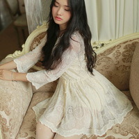 Hot Sale 2014 Autumn Winter Women New Sweet Lace Dress Lady Round Collar Casual Dresses W23170