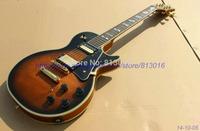 Customised electric guitar LP Model semi glossy ,3pcs mahognay neck+2 sapele lines,gold parts yellowish binding around guitar!