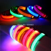 S111  Free Shipping 1 PC Adjustable Pet Dog Flashing LED Lights Safety Nylon Night Glow Collar