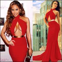Elegant Red Party Evening Dress Halter Neck Sexy Women Dress Floor Length Maxi Dress Long Bodycon Vestidos Vintage Dress