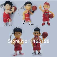 Free Shipping Japanese Anime Slam Dunk Figure Keychain Pendants Rukawa Kaede Key chain 6pcs/set