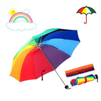 Creative housewares 2014 New hot Rainbow Umbrella novelty items three Folding 55CM 10K high quality rain umbrella for women