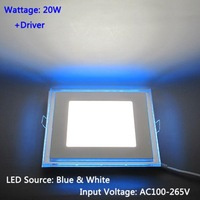 Free Shipping 20W Square LED Recessed Ceiling Panel Down Lights Lamp + LED Driver AC100~265V LEDTD018