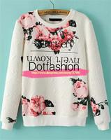 2015 Spring Fashion Pullovers Women Harajuku Style Brand Casual White Long Sleeve Floral Print Jacquard Sweatshirt