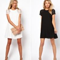 Women Sexy Lace Chiffon Party Dress New 2015 Fashion Spring Summer Short Sleeve Cute Casual Dresses Vestidos Plus size S M L XXL