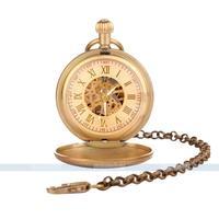 Steampunk Skeleton Mens Gold Roman Automatic Windup Mechanical Pocket Watch