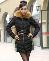 casacos femininos plus size xxxl women winter long down jacket 2014 new large fur collar print cotton-padded coat lady parka K14