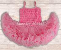 Free shipping new arrival sleeveless Princess Rosette tutus Ball Gowns Party Summer Dress Children's flower petti summer dress