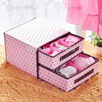 Home design satisfied Pink Polka Dot storage case box for bunk  bra underwear ,drawer storage box ,Organizer case box Household