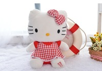 Free Shipping sitting height 23cm red plaid dress Hello Kitty Plush Toys,Hello Kitty animals Stuffed Toys For Christmas gifts