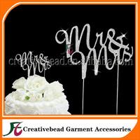Diamante Wedding Topper Mr & Mrs Cake Picks Silver Metal w/ Clear Crystals