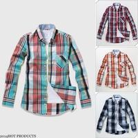2014 Spring Brand New High quality 50% Cotton men's shirts Classic Plaid Casual shirts 6100