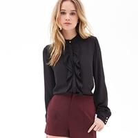 Women New Fashion Black Chiffon Shirt Stand Collar Long Sleeve Shirt Sleeve Front Double Falbala Design Loose Tops D595