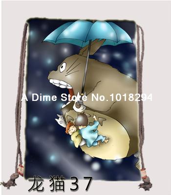 My Neighbor Totoro Drawstring bag Sports fly sky Backpacks canvas Book school Clothes Travel Outdoor custom kids drawstring bags(China (Mainland))