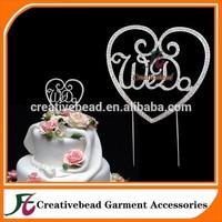 Diamante Rhinestone Wedding Cake Topper WeDo Silver Metal w/ Clear Crystals, Wedding Cake Picks Monogram