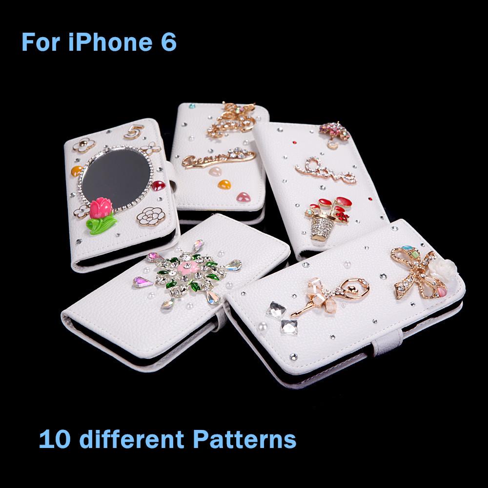 10 типов флип кожаный телефон bling