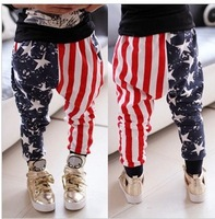 SKZ-295 Free Shipping 2014 New Children Fashion Harem Pants Kids Stars Stripes Trousers Boys Autumn And Spring Pants Wholesale