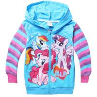 Wholesale & FREE SHIPPING Kids 2-8T Girls My Little Pony Spring Fall Long Stripe Sleeve Cotton Hoodies Coat Girls 5PCSLOT