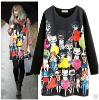 free shipping ! girl's cotton Polyester dress women's long sleeve oversize clothing XXL female o-neck print mini dress