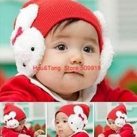 2014 most Fashion baby hat 0-4Y Babys Rabbit Cap Kids Rabbit Bow Knitted Hat Children Skull Cap XHM-021