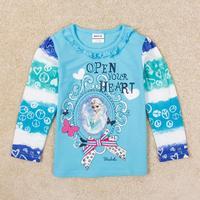 Children Girls Frozen T shirt Nova Brand Princess Elsa Lace Neck Long Sleeve Bow Blue Cotton Kids Clothing Baby Clothes Tees