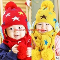 2014 Fashion baby star hat and scarf set with owl on two sides boy girl winter cap scarf for children to keep warm XHM-010
