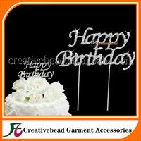 Diamante Rhinestone Happy Birthday Cake Topper Silver Metal w/ Clear Crystals, Birthday Party Cake Picks, Cake Toppers Monogram