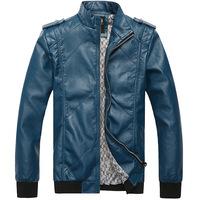 Designer Pattern Mens Slim Motorcycle Leather Jacket Thin Outerwear Rib Sleeve Casual Coat Jaqueta Couro Masculina Blue Black