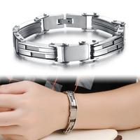 Wholesale Stainless Steel Bracelet & Bangle Punk Strand Charm Chain Wristband Men's Bracelet 215mm Men's Jewelry GS738