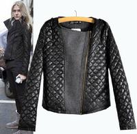 New 2014 Woman Slim Thin Woolen Coat Asymmetric Stitching Zipper Jacket Long Sleeve Coats Quilted Womans Outwear