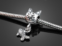 2piece/lot 925 silver cat catch a fish hole bead classical European Beads Fits Silver Charm pandora Bracelets necklaces pendants