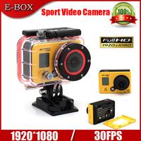 Free Shipping Sport Action Camera Gopro Hero 4 style camera Full HD 1080P 60M waterproof Video Helmet Camera+Extra 1pcs battery