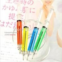 5pcs Novelty Liquid Syringe Ballpoint Pen Medical Hospital Stationery Blue Ink Needle Tube Writing Ball Point Syringe Pen