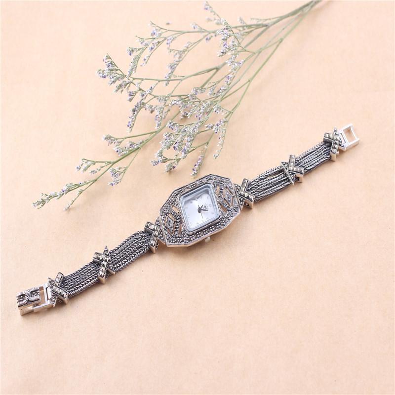Rhinestone jewelry fashion brand Luxury lady Wristwatch 925 sterling Silver watches exquisite quartz watch YF024S