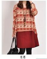 free shipping ! girl's extra large print dress women's autumn fake two piece dress female loose cotton linen dress