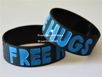 "Free Hugs Silicon Bracelet, 1"" Wide Band, Adult, Black Colour, Debossed Silicon Wristband, 50pcs/Lot, Free Shipping"