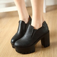 Chao 2015 British retro thick heels with thick soles waterproof shoes muffin increased simplicity